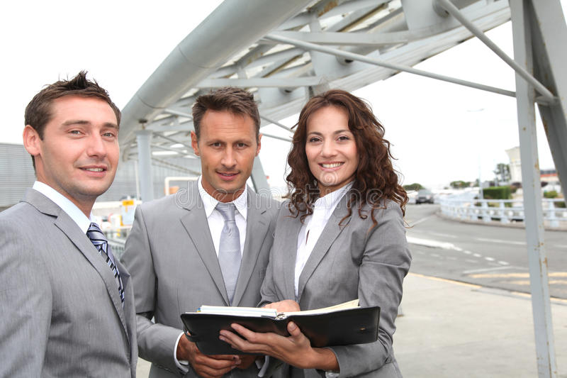Business team standing outside royalty free stock images