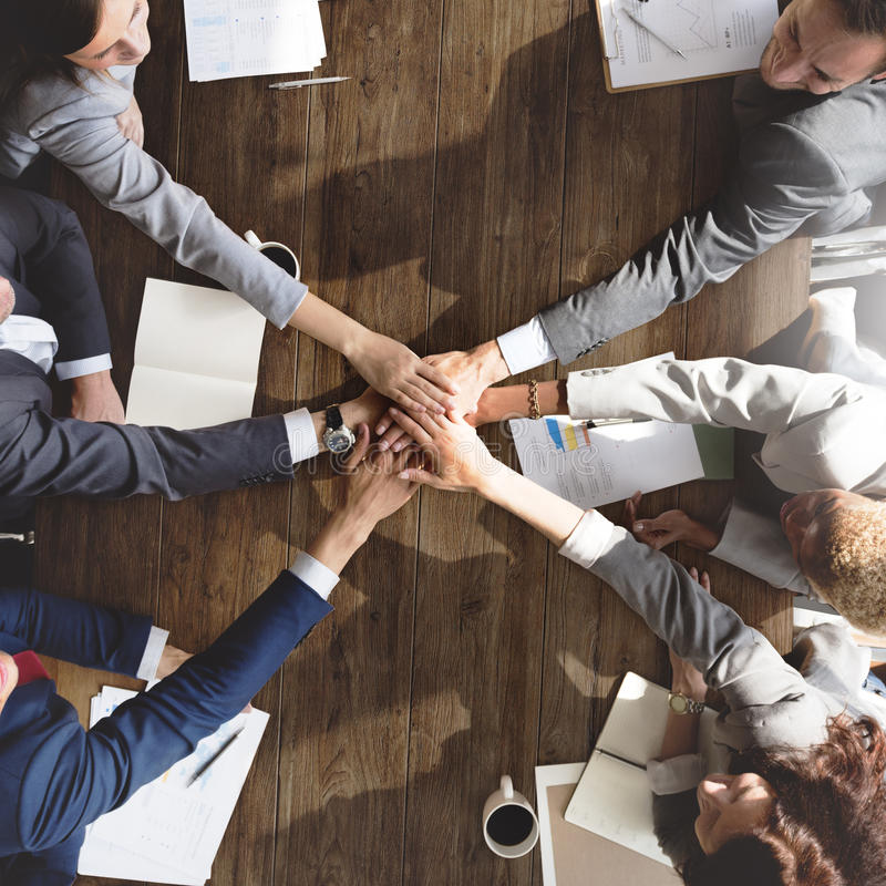 Business Team Support Join Hands Support Concept.  stock image