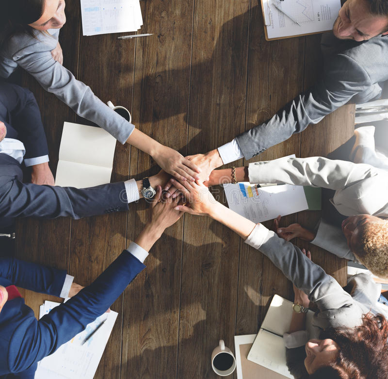 Business Team Support Join Hands Support Concept.  royalty free stock photography