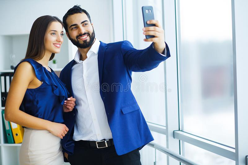 Business team taking selfie photo royalty free stock images