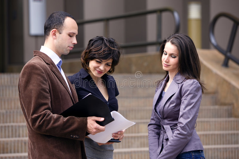 Business team talking with client stock images