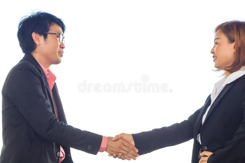Businessman hand in hand but face expression is not good. Businessman hand in hand but face expression is not good royalty free stock image