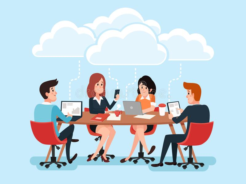 Business team using laptops, business people sharing office documents, chat virtual conference on cloud technology vector illustration