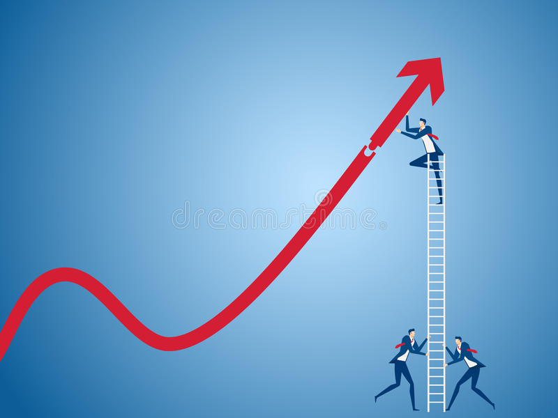 Business team using stairs to building growth graph and preparing for the big profit. Solving finances concept vector illustration