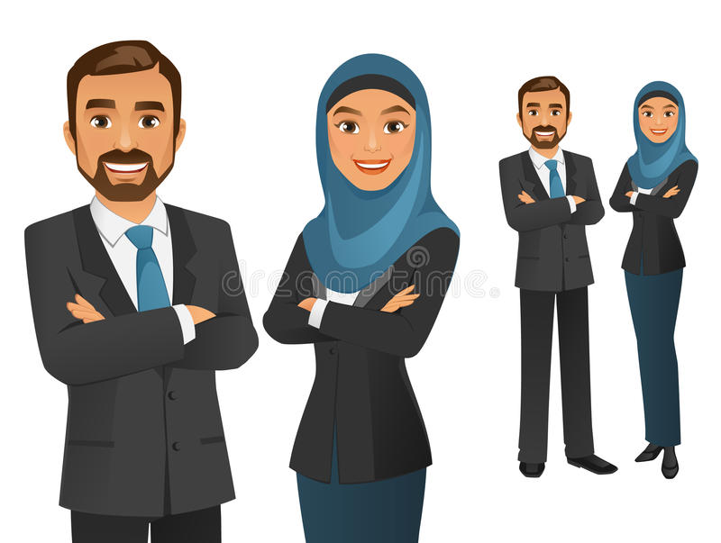 Business Team. Vector illustration of a happy business team stock illustration