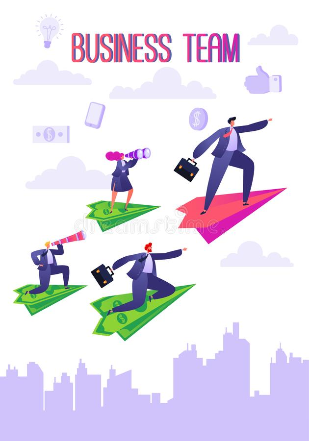 Business team voncept. Businessman and woman flying on paper planes. vector illustration