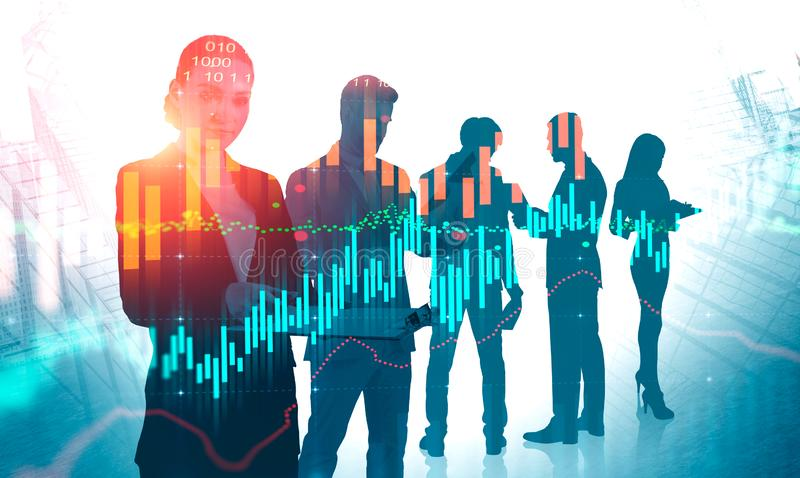 Business team with woman leader, virtual graph. Young business team with woman leader working in abstract city with double exposure of virtual graphs. Concept of royalty free stock photography