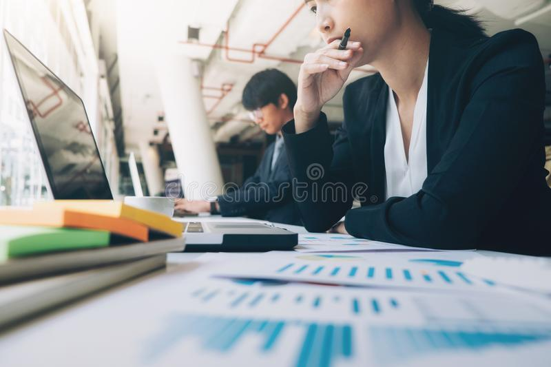 Business team work brainstroming meeting process. royalty free stock images