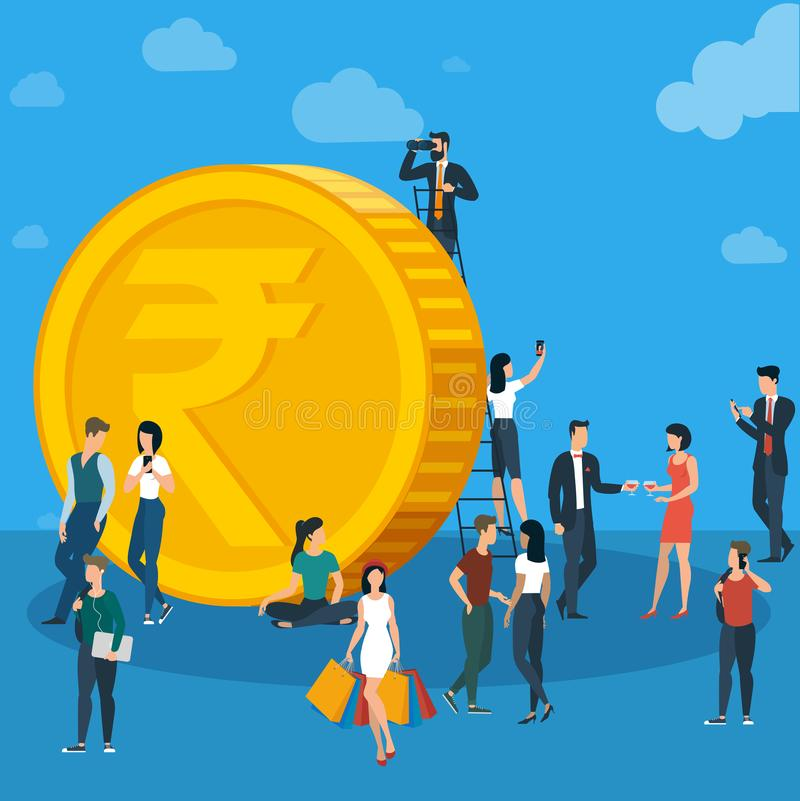 Business team work concept. Indian Rupee flat design vector international business team work concept workflow management investor growing money abstract vector illustration