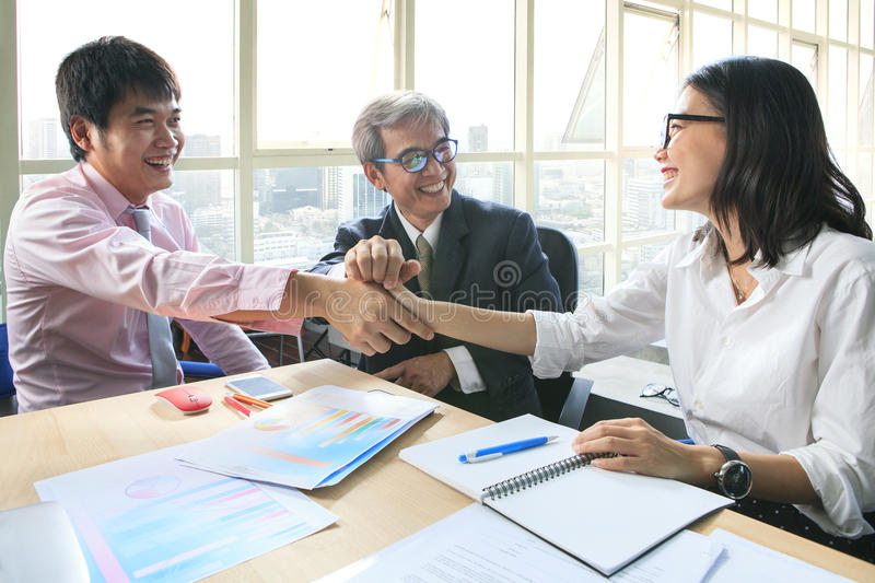Business team work meeting to conflict problem solution with goo royalty free stock photo