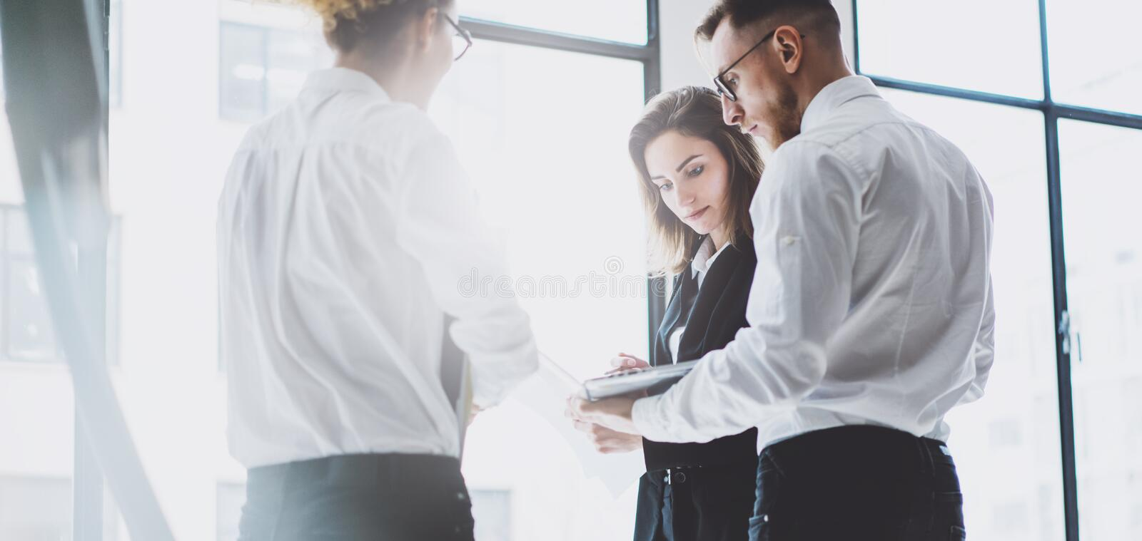 Business team work process. Photo young professionals crew working with new startup project. Project managers meeting royalty free stock photography