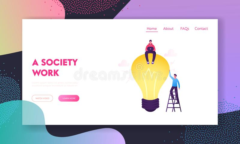 Business Team Work on Project Searching for Creative Idea Website Landing Page. Man Sitting on Huge Light Bulb stock illustration