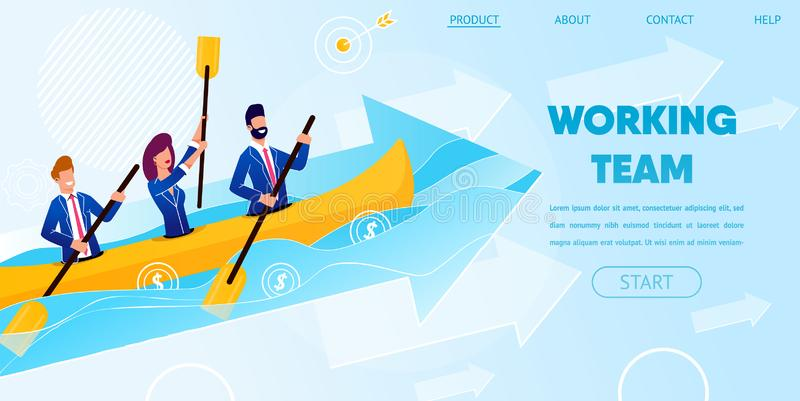 Business Team Work Together Rowing Boat in Ocean vector illustration