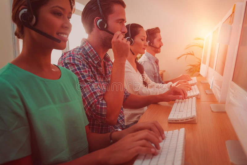 Business team working at the call centre royalty free stock photo