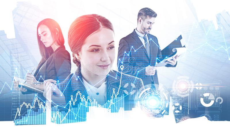 Business team working with infographics royalty free stock image