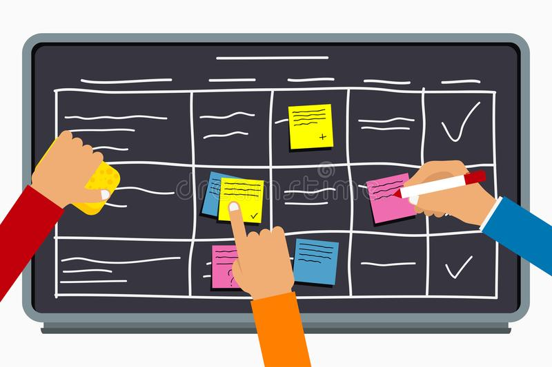 Business team working together with planning board. Hands writing on sticky notes on task board with table scheme. Vector stock illustration
