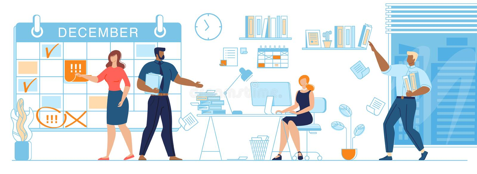 Business Team Working Together Planning Scheduling stock illustration