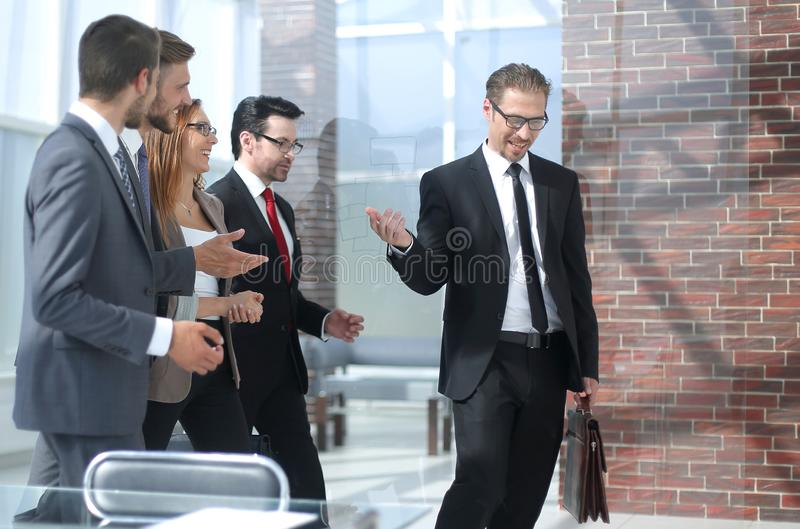 Business team at workplace in office. stock image