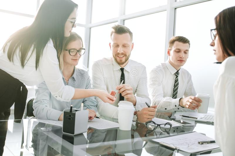 Business team at the workplace in the office royalty free stock photo