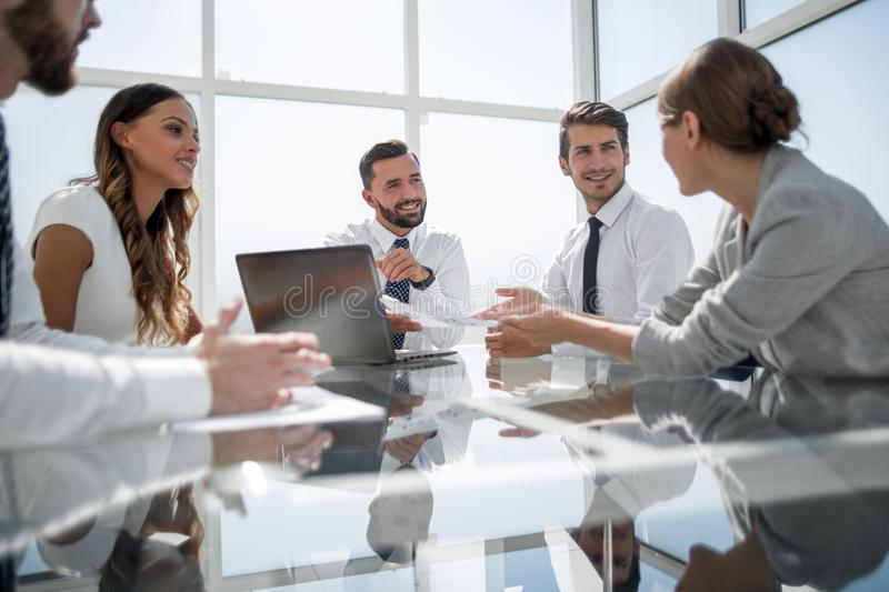 Business team works with documentation royalty free stock photography