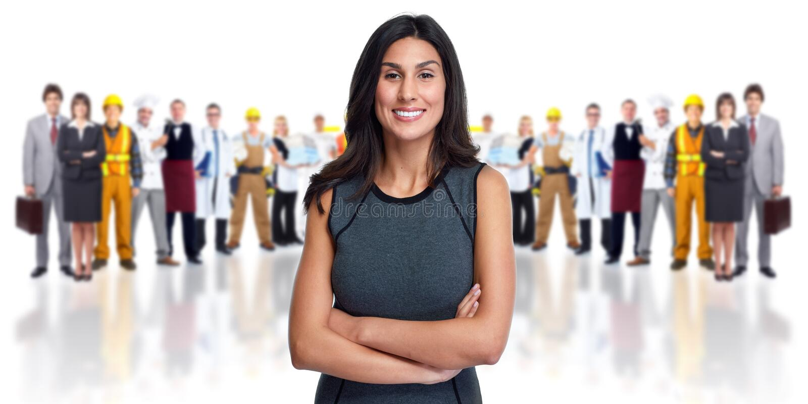 Business team. Young smiling business woman workers group background royalty free stock photos