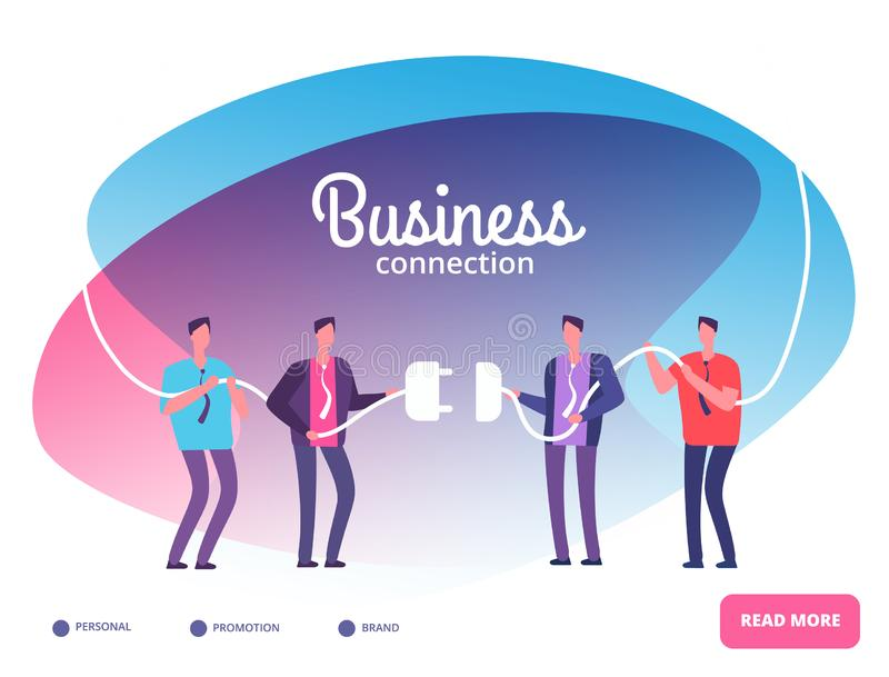 Business teams connect plug. Businessmen connecting connectors. Cooperation and team growth vector concept. Connect work team people, communication and stock illustration