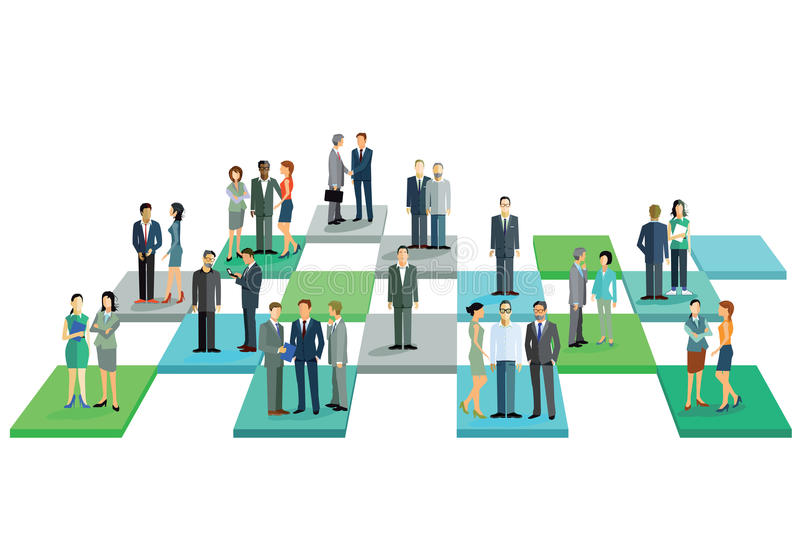 Business teams in grid royalty free illustration