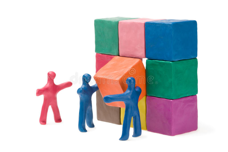 Business teamwork. Successful solution. Plasticine. Isolated royalty free stock photography