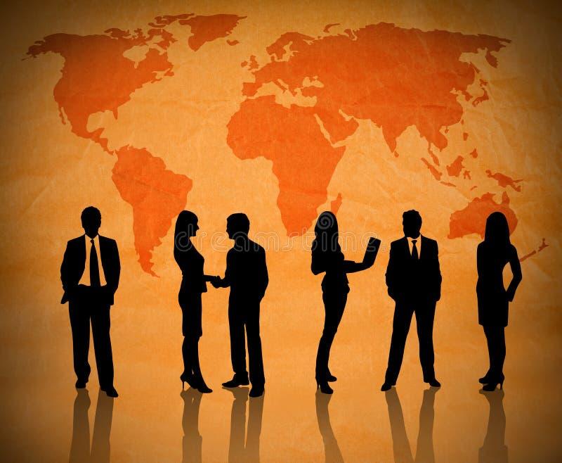 Business teamwork across globe stock illustration