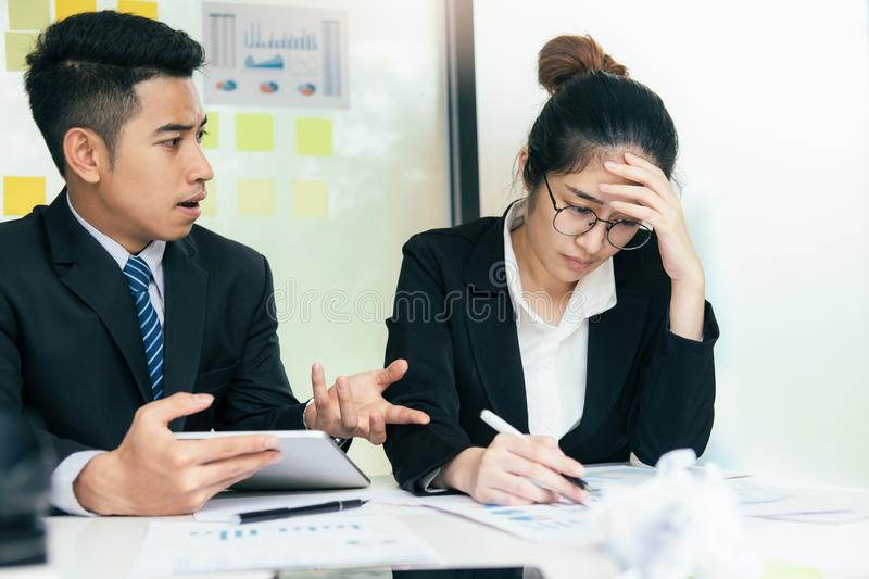 Business teamwork blaming partner and serious discussion. stock images