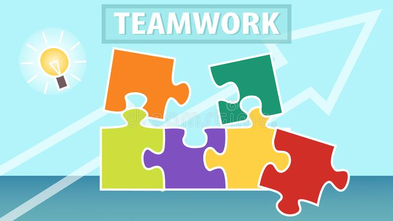 Business Teamwork, Brainstorming Strategy Concept. Puzzle Pieces. Business Creative Solutions, Collaboration and stock illustration