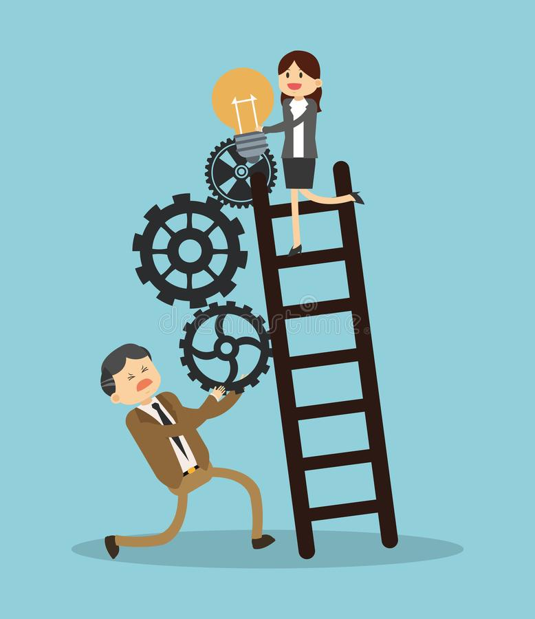 Business teamwork climbing stairs royalty free illustration