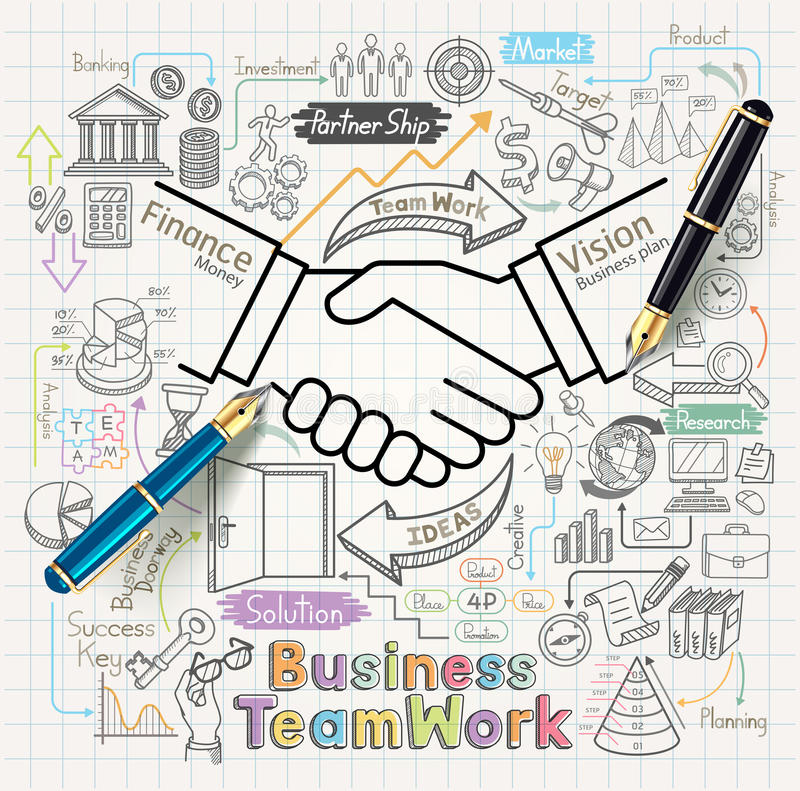 Business teamwork concept doodles icons set. Vector illustration vector illustration