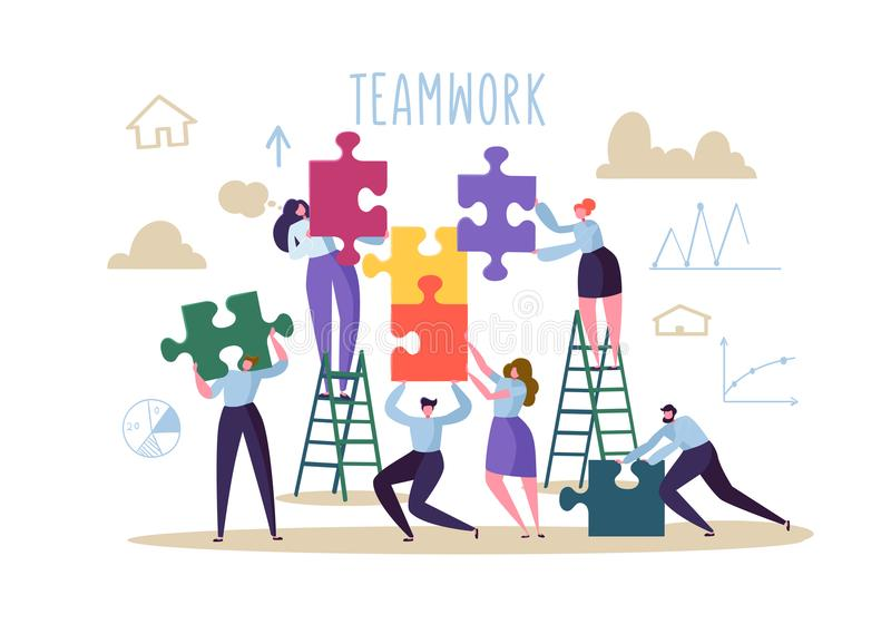 Business Teamwork Concept. Flat People Characters with Pieces of Puzzle. Partnership, Solution Cooperation vector illustration