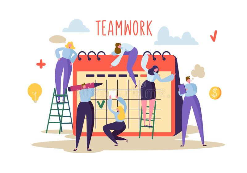 Business Teamwork Concept. Flat People Characters Working Together and Planning Schedule on Desk Calendar royalty free illustration