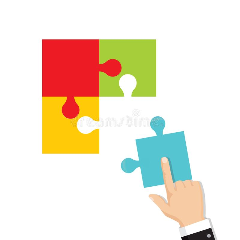 Business teamwork concept. Four businessman connecting puzzle. stock illustration