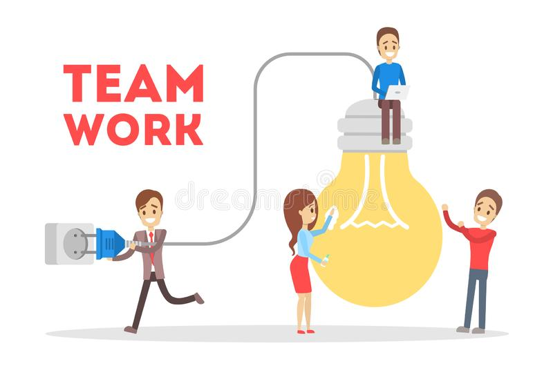 Business teamwork concept. Idea of partnership and cooperation vector illustration