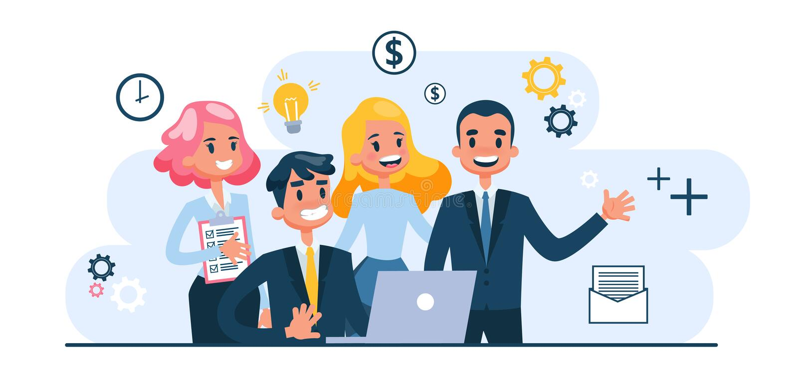 Business teamwork concept. Idea of partnership and cooperation. Business teamwork concept set. Idea of partnership and cooperation. Connection and communication vector illustration