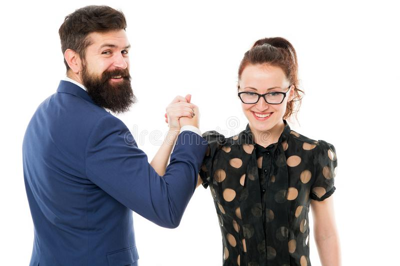 Business and teamwork concept. Strong team. Couple colleagues man with beard and pretty woman on white background. Business partners leadership and cooperation stock photography