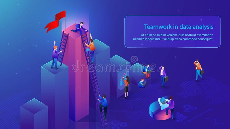 Business Teamwork in Data Analysis Vector Concept. Teamwork in Data Analysis Isometric Vector Banner with Office People Working Together to Reach Top in Business vector illustration
