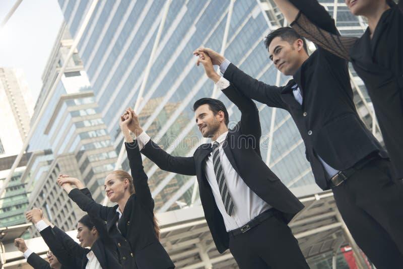 Business teamwork hands up. concept celebration success for work royalty free stock image