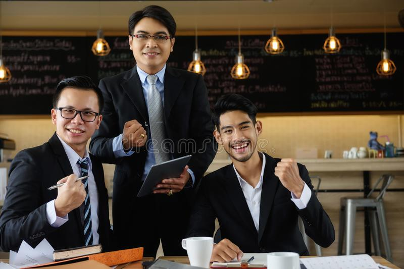 Business teamwork with happy business men stock images