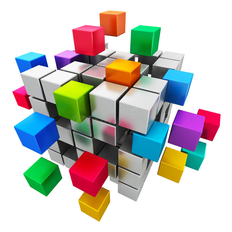 Business teamwork, internet and communication conc. Creative abstract business teamwork, internet and communication concept: colorful cubic structure with vector illustration