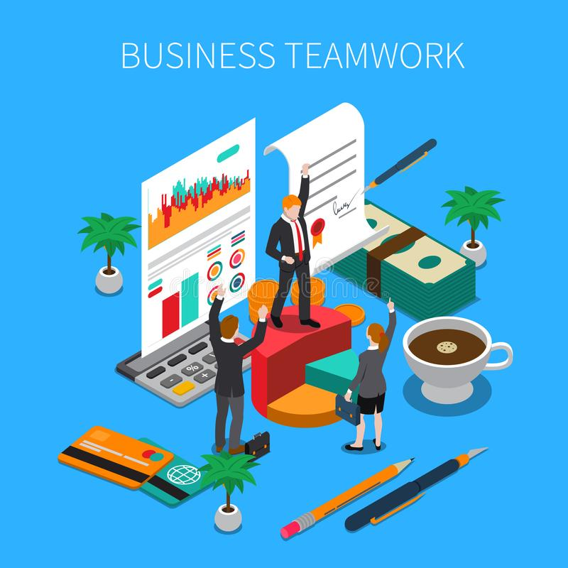 Business Teamwork Isometric Concept royalty free illustration