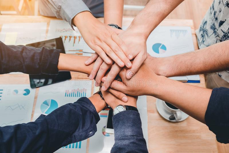 Business Teamwork joining hands team spirit Collaboration Concept.  royalty free stock photos