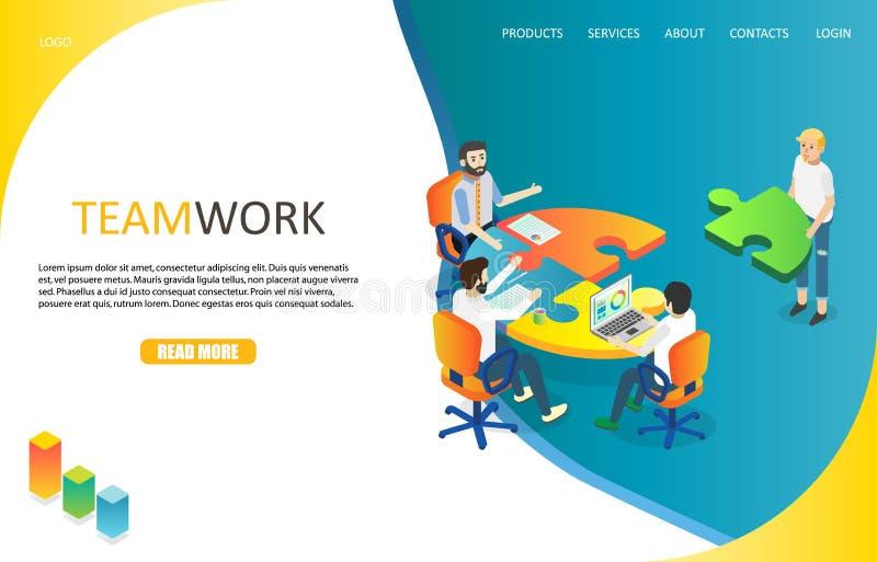 Business teamwork landing page website vector template vector illustration