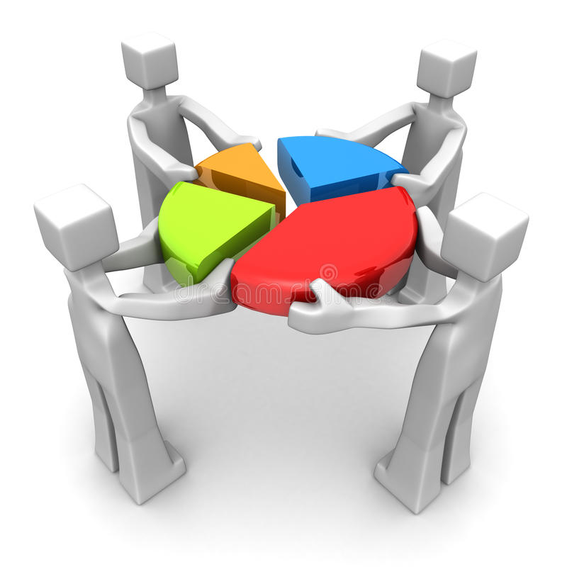 Business teamwork and performance concept. Businessman work together to combine a pie chart 3d illustration
