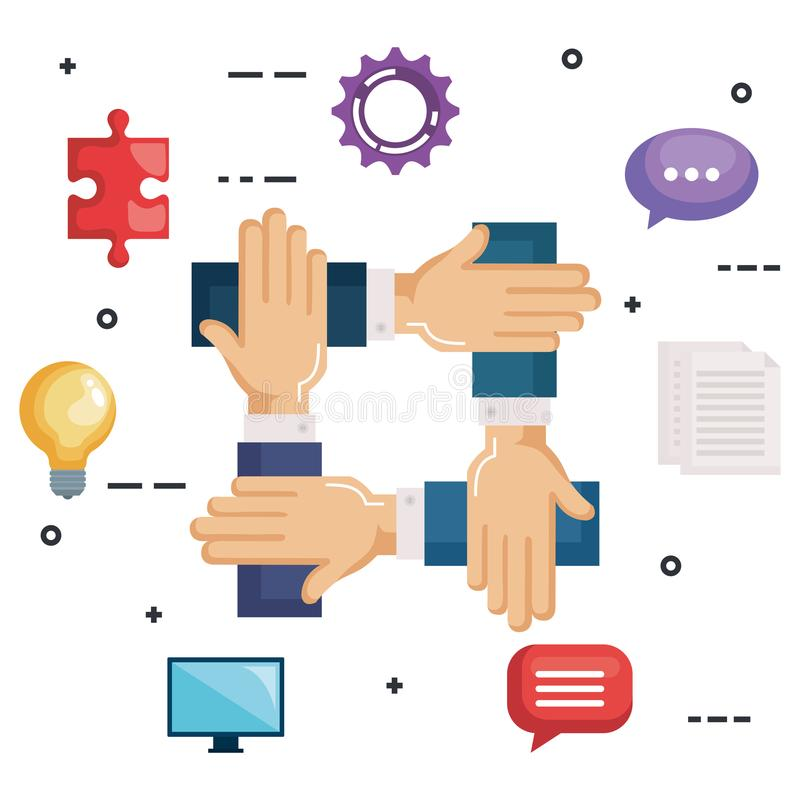 Business teamwork set icons. Vector illustration design stock illustration