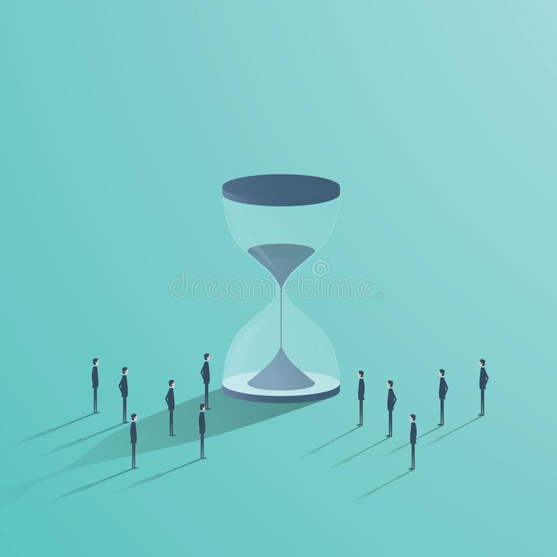 Business teamwork and time vector concept. Businessmen standing around hourglass, symbol of deadline, project management stock illustration