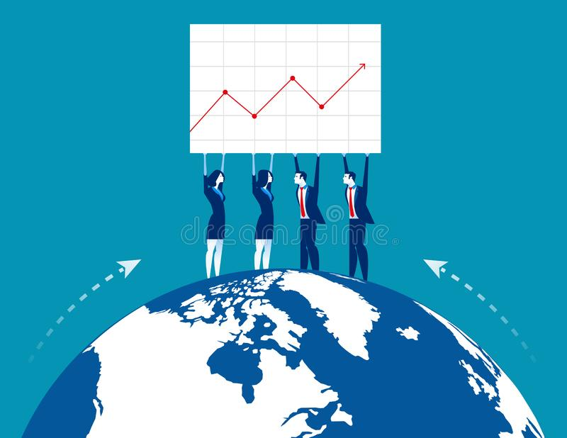 Business teamwork yielding success. Concept business vector illustration. Flat business design royalty free illustration